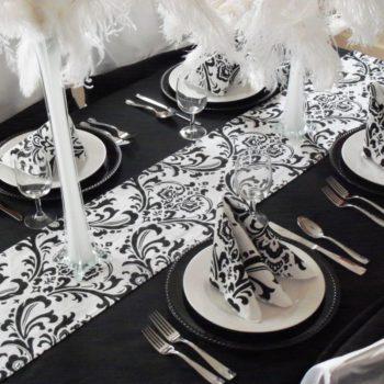 сервировка столов — черно — белая