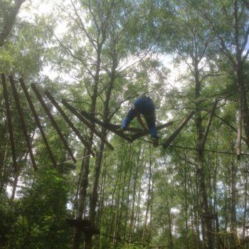 веревочный курс высотный упражнение Бревна